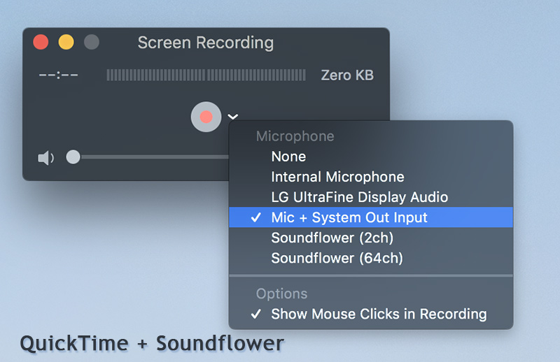 Record Screen Sound with QuickTime and Soundflower on Mac